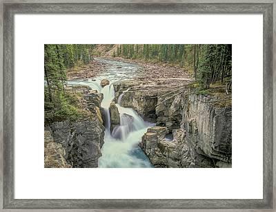 Framed Print featuring the photograph Sunwapta Falls 2006 01 by Jim Dollar