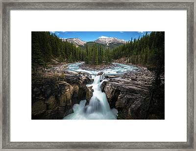 Sunwapta Falls In Jasper National Park Framed Print