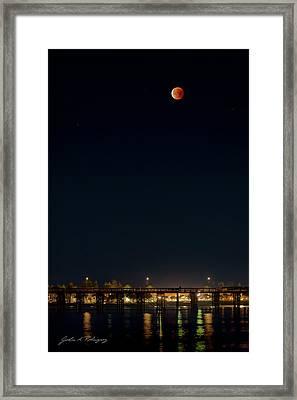 Super Blood Moon Over Ventura, California Pier Framed Print