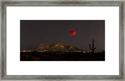 Super Bloodmoon Over The Superstition Mountains Framed Print