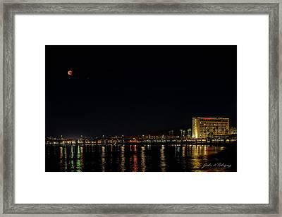 Super Blue Blood Moon Over Ventura, California Pier  Framed Print