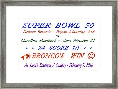 Super  Bowl  Fifty Framed Print by Carl Deaville