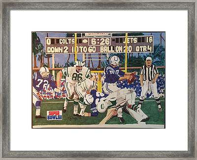 Jets - Colts Super Bowl 3 Framed Print by TJ Doyle