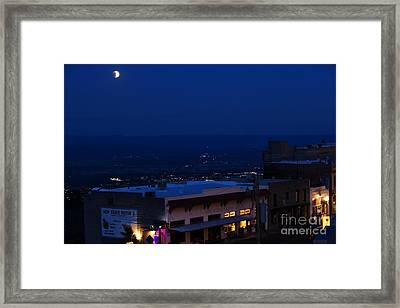 Framed Print featuring the photograph Super Full Moon 1/2 Eclipse Over Jerome Az by Ron Chilston