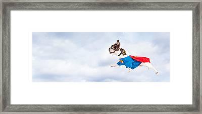 Super Hero Dog Flying Through Sky Framed Print by Susan Schmitz