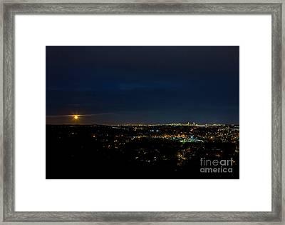 Super Moon 2016 Rises Over Boston Massachusetts Framed Print by Diane Diederich