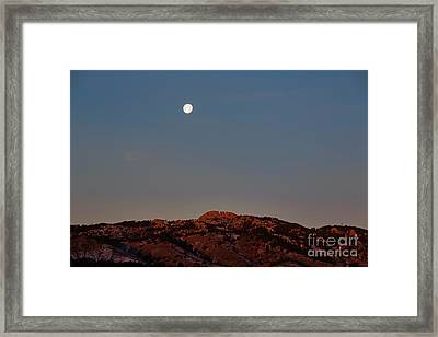 Super Moon And Horsetooth Rock Framed Print by Jon Burch Photography