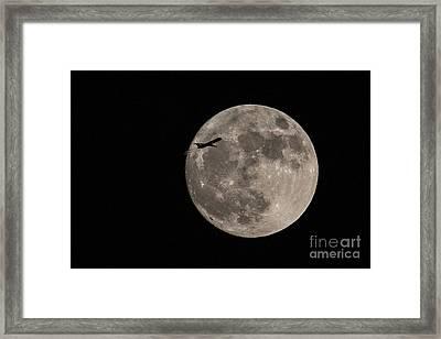 Super Moon And Plane Framed Print by Jennifer Ludlum