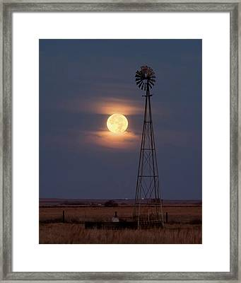 Super Moon And Windmill Framed Print