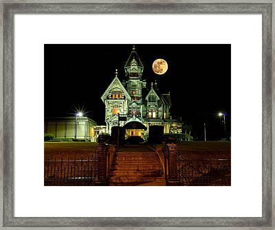 Super Moon Over Carson Mansion Framed Print
