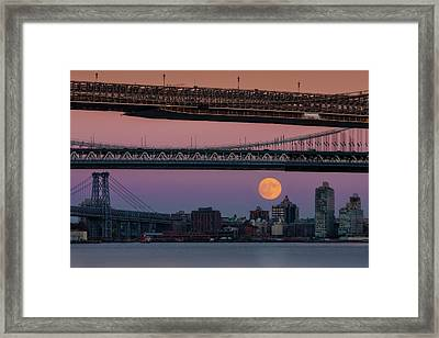 Super Moon Over Manhattan New York City Nyc Bridges Framed Print by Susan Candelario