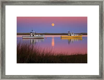 Super Moon Over Nauset Beach Cape Cod National Seashore Framed Print by Dapixara Art
