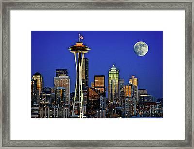 Super Moon Over Seattle Framed Print