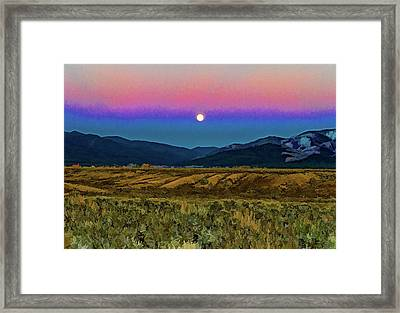 Super Moon Over Taos Framed Print