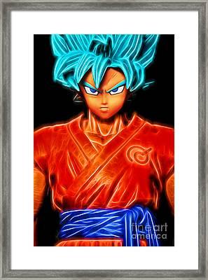 Framed Print featuring the digital art Super Saiyan God Goku by Ray Shiu