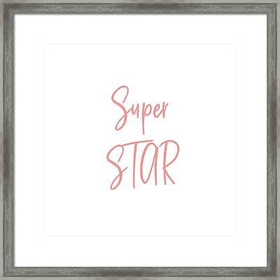 Super Star Pink On White- Art By Linda Woods Framed Print