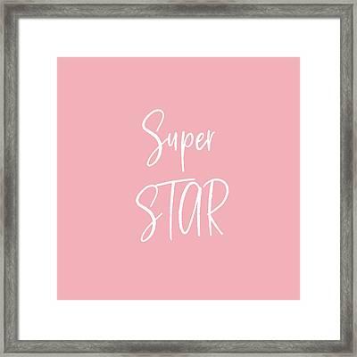 Super Star White On Pink- Art By Linda Woods Framed Print