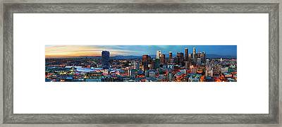 Super Wide View Of Los Angeles At Dusk Framed Print by Kelley King