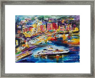 Evening In Portofino Italy Super Yacht Travel Framed Print by Ginette Callaway