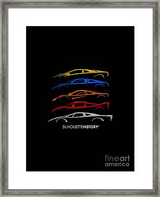 Supercar Of 90s Silhouettehistory Framed Print by Gabor Vida