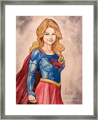 Supergirl Framed Print by Jimmy Adams