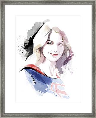 Supergirl Framed Print by Unique Drawing