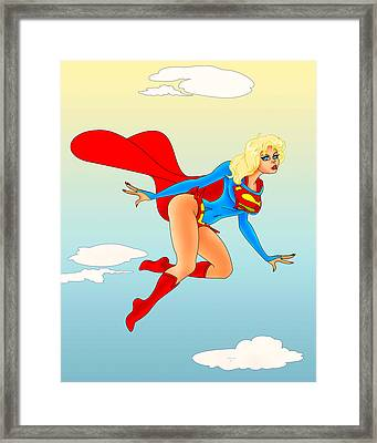 Supergirl Up In The Clouds Framed Print