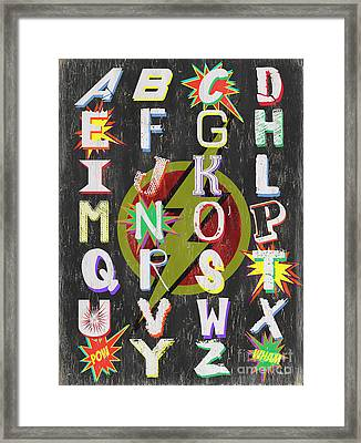 Superhero Alphabet Framed Print by Debbie DeWitt
