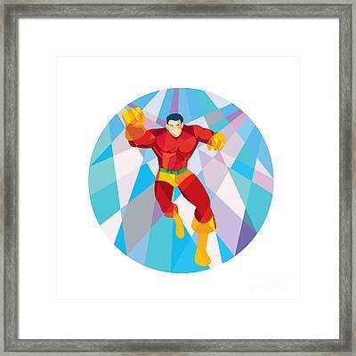 Superhero Running Punching Low Polygon Framed Print