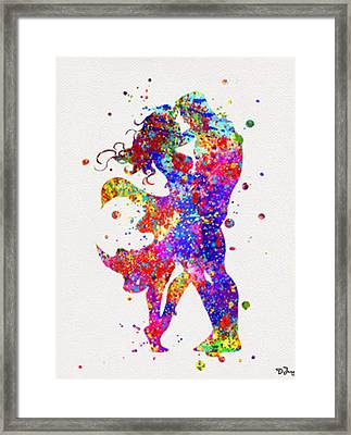 Superman And Supergirl  Print Framed Print by Del Art