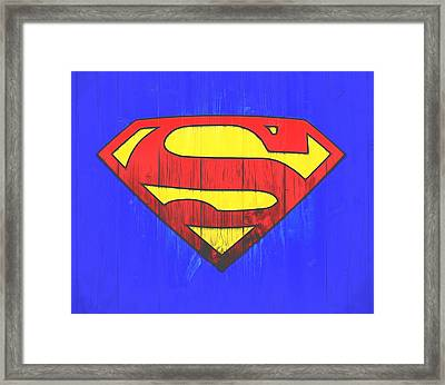 Superman Graphic Door Framed Print by Dan Sproul