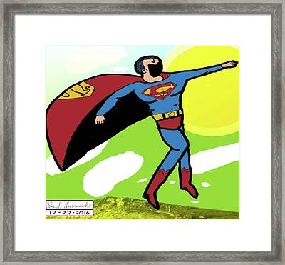 Superman In Flight Framed Print by John Lavernoich