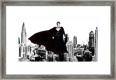 Superman In Manhattan Comic Charcoal Framed Print