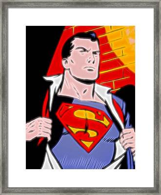 Superman Pop Art Framed Print by Dan Sproul