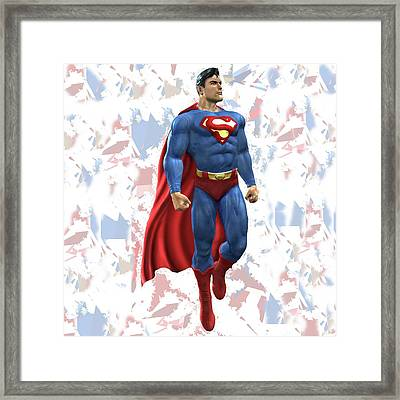 Framed Print featuring the mixed media Superman Splash Super Hero Series by Movie Poster Prints