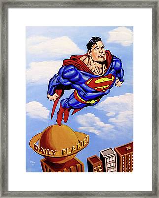 Framed Print featuring the painting Superman by Teresa Wing