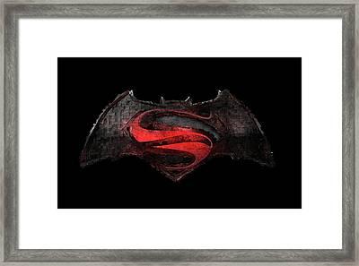 Framed Print featuring the photograph Superman Vs Batman by Louis Ferreira