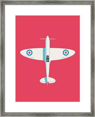 Supermarine Spitfire Raf Fighter Plane - Crimson Framed Print