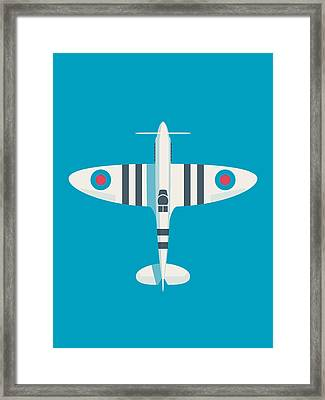 Supermarine Spitfire Wwii Raf Royal Air Force Fighter Aircraft - Stripe Blue Framed Print