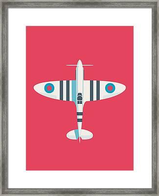 Supermarine Spitfire Wwii Raf Royal Air Force Fighter Aircraft - Stripe Crimson Framed Print