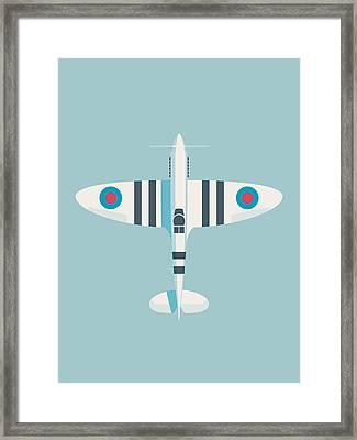 Supermarine Spitfire Wwii Raf Royal Air Force Fighter Aircraft - Stripe Sky Framed Print
