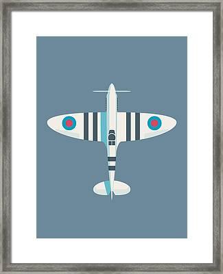 Supermarine Spitfire Wwii Raf Royal Air Force Fighter Aircraft - Stripe Slate Framed Print