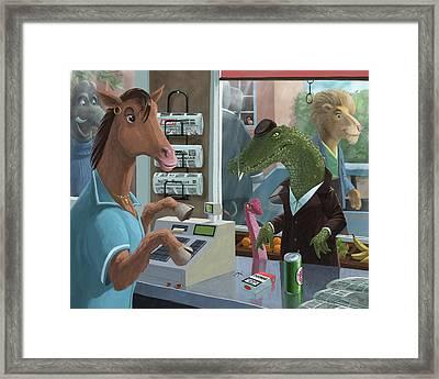 Supermarket Horse Serving Framed Print by Martin Davey