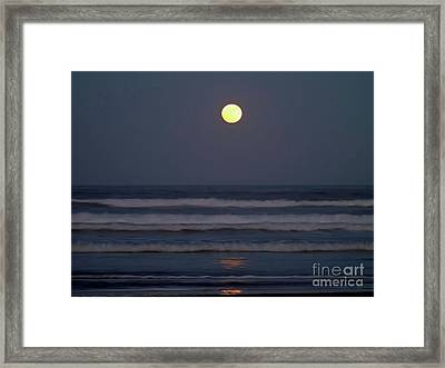 Supermoon Above The Waves Framed Print by D Hackett