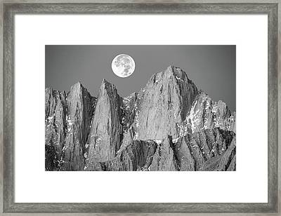 Framed Print featuring the photograph Supermoon And Mount Whitney. by Johnny Adolphson