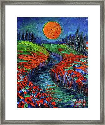 Supermoon And Poppies Framed Print