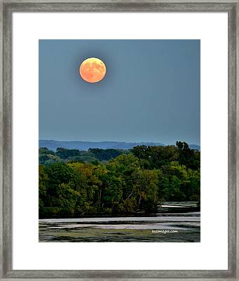 Supermoon On The Mississippi Framed Print