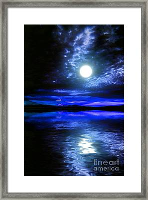 Supermoon Over Lake 2 Framed Print