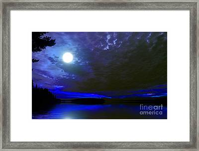 Supermoon Over Lake Framed Print