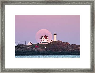 Supermoon Over Nubble Lighthouse Framed Print